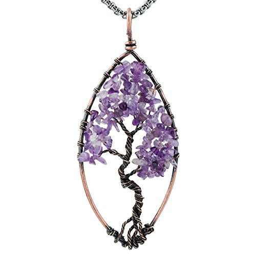 SUNYIK Amethyst Tree of Life Pendant,Tumbled Stone Oval Wire Wrapped Necklace,Healing Chakra ()