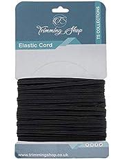 6 mm plat elastisch koord, sterk en elastisch elastiek plat elastisch koord voor breien, kunst en ambachtelijke accessoires, naaikleding (zwart, 25 meter)