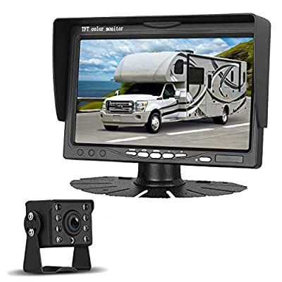 LeeKooLuu HD 720P Backup Camera Kit for Trucks, Trailers, Tractors, Vans, Campers, Motorhomes Single Power Rear View System with 7''Monitor IP69K Waterproof Camera Guide Lines ON/Off : Camera & Photo