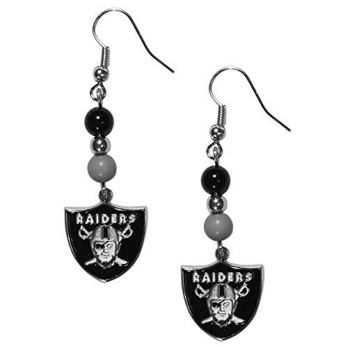 NFL Oakland Raiders Fan Bead Dangle Earrings (Oakland Raiders Nfl Eye)