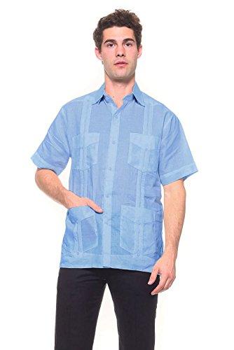 Guayabera Pleated (Mojito Mens 100% Linen 4 Pocket Guayabera Shirt Blue X-Large)