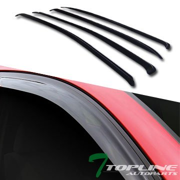 Topline Autopart Smoke Window Visors Deflector Vent Shade Guard 4 Pieces For 05-10 Chevy Cobalt 4 Door Sedan (Cobalt 4 Chevy Door)