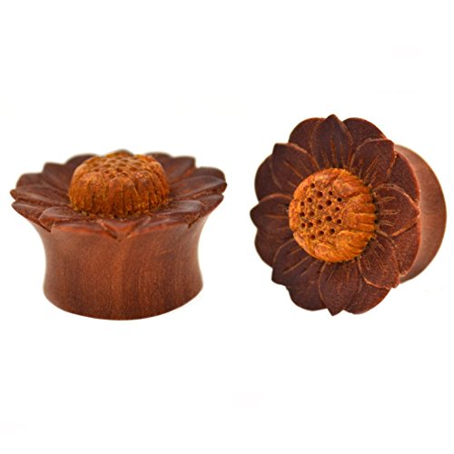 Pair (2) Exotic Sawo Wood Saddle Plugs w/Jackfruit Lotus Flower Design Ear Gauges- 3/4