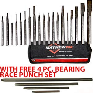 19Pc Punch/Chisel Set+Free 4Pc Bearing Race Punch by Mayhew Tools