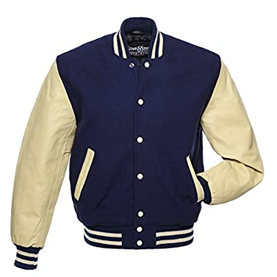C141 Navy Wool Natural Cream Leather Varsity Jacket Letterman Jacket