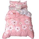 Teens Kids Girls Duvet Cover Sets for Full Size Bed,Pink Flowers Cotton Bedding Cover Sets Queen, 3 Pieces Quilt Comforter Cover Full and 2PC Pillow Shams Collection-EnjoyBridal (Queen, Peach Blossom)