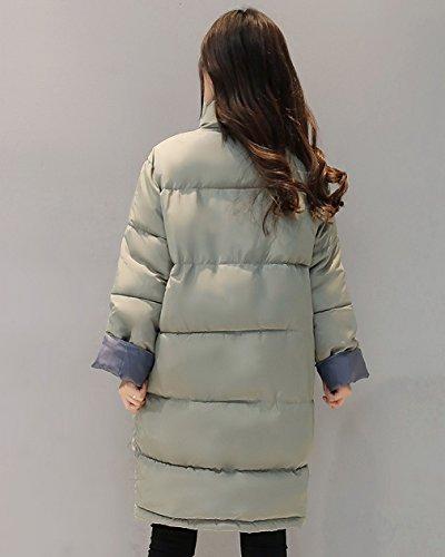 Giacca Spessore Incappucciato Giù Verde Outwear Chic Caldo Donne Lungo Oversize Bigood Cappotto Bwv711q