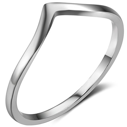 Jude Jewelers Stainless Steel Pointed Chevron Classical Simple Plain Statement Promise Ring (Silver, 11)