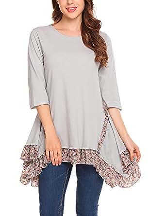 Mofavor Women's 3/4 Sleeves Floral Patchwork Asymmetrical Hem Tunic Tops Grey S