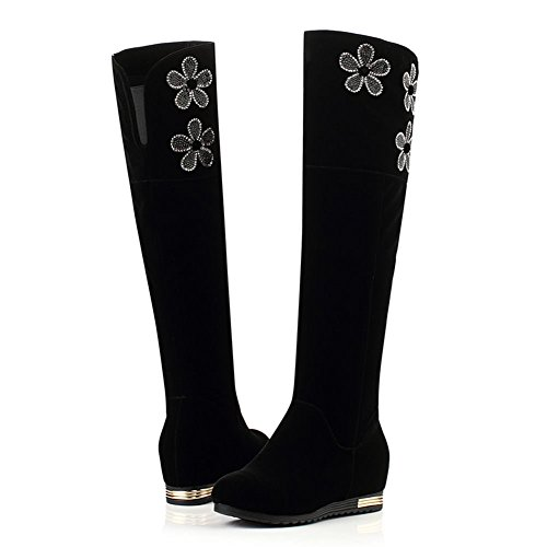 DecoStain Women's Flower Pattern Knee High Boots Black eevurx