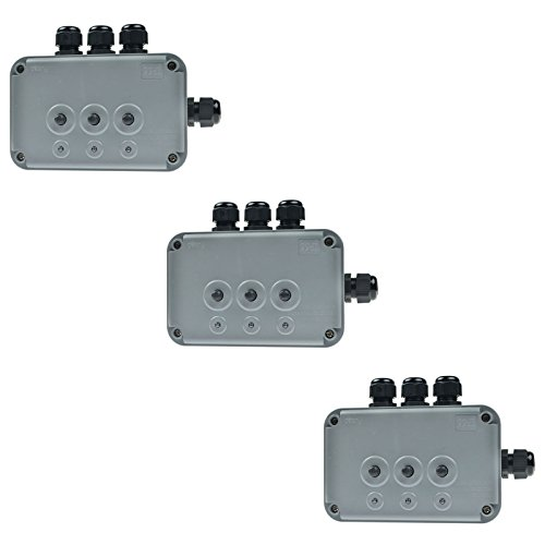 SuperInk 3 Pack 15A 125VAC 3-Gang Power Control Switch Junction Box Weatherproof Outdoor Switched with 3 x Push Switches w/indicators and 4 x 20mm Cable Gland IP66 - Outlet Preminum