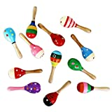 Dazzling Toys Mini (5 Inch) Wooden Fiesta Maracas - Pack of 6 - Assorted colors and designs,