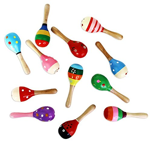 Maracas | Wooden Fiesta Maracas | Pack of 12 Assorted Colors and Designs Maracas -