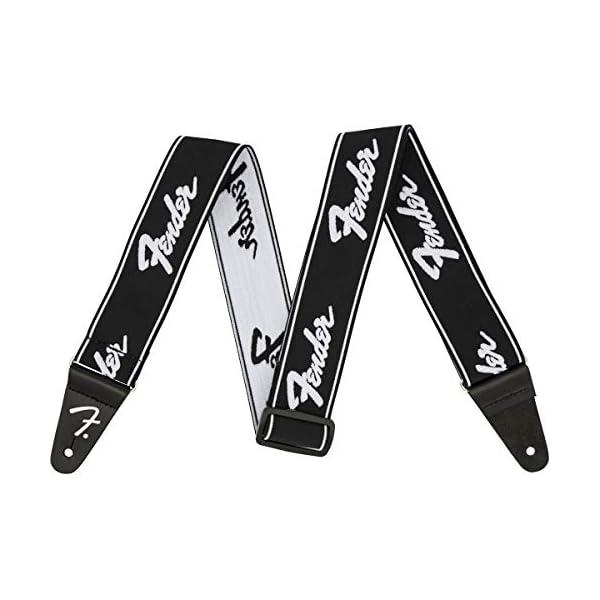 Fender WeighLess 2″ Running Logo Strap, Black/White