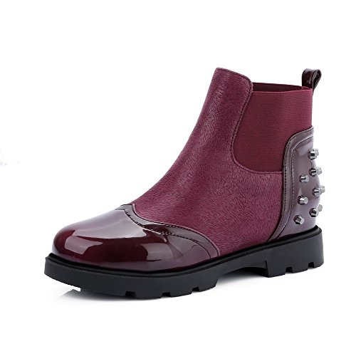 AllhqFashion Womens Low-Heels Solid Round Closed Toe Soft Material Pull-On Boots, Claret, 42
