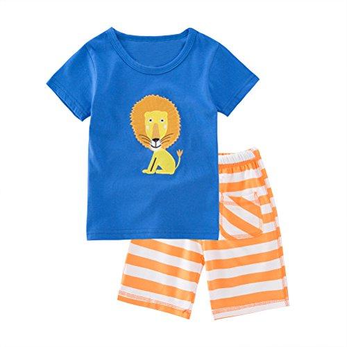May's Babypajama Lion Little Boys Short Sleepwear Cotton Sets T-Shirt & Pants (18-24 (Sleep Boyshorts)