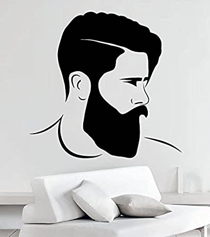Hipster wall decals mustache beard brutal man cave vinyl stickers decor mk1081