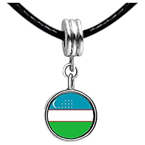 Chicforest Silver Plated Uzbekistan flag Photo Blue Aquamarine Crystal March Birthstone Flower dangle Charm Beads Fits Pandora Charm Bracelet