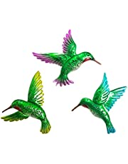 J-Fly Hummingbird Wall Art Décor 9inch Large 3Pack Metal Hand-made Wall Decoration Outdoor Indoor Ornament for Kitchen Living Room Bedroom Patio Balcony Counyard, Green Unique Memorial Gifts for Mom