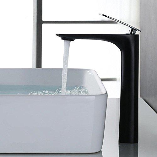 AQiMM Waschtischarmatur Wasserhahn Messing 1 Bohrung Einhebelsteuerung, Warmes Und Kaltes Wasser Schwarze Runde  Mischbatterie Waschbeckenarmatur Für Badezimmer Waschbecken