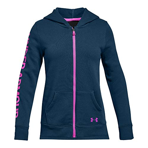 Under Armour Girls' Rival Fleece Full Zip Hoodie, Techno Teal (489)/Fluo Fuchsia, Youth Small ()