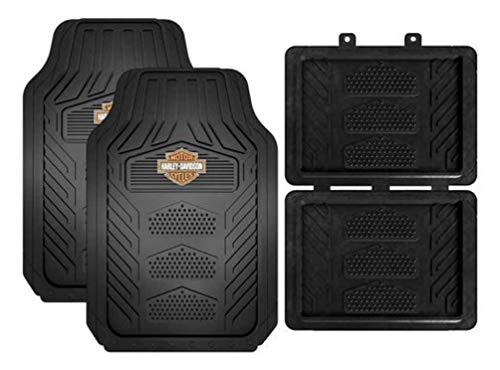 Harley Davidson Truck Floor Mats - Harley-Davidson Weatherpro 4 Piece Rubber Floor Mats, Universal-Fit 1671