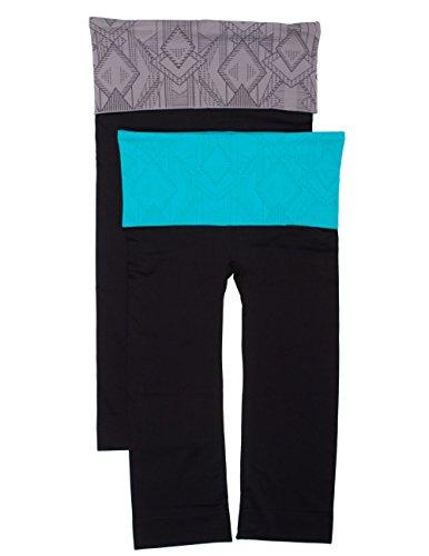 CC 2 Pack Nylon Spandex Tribal Fold Over Capri Yoga Leggings