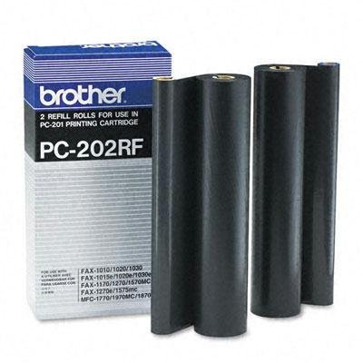 Brother PC202RF Thermal Transfer Refill Roll Black 2/Pack For Plain Paper Fax Machine by Brother by Brother
