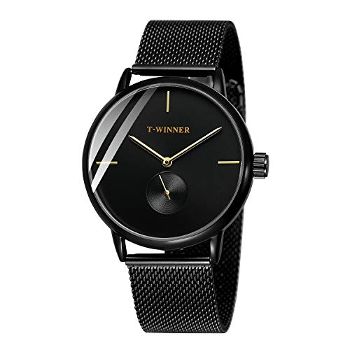 Bestn Men's Wrist Watch, Hand-Wind Mechanical with Stainless Steel Mesh Band Classic Ultra-Thin Wrist Watch