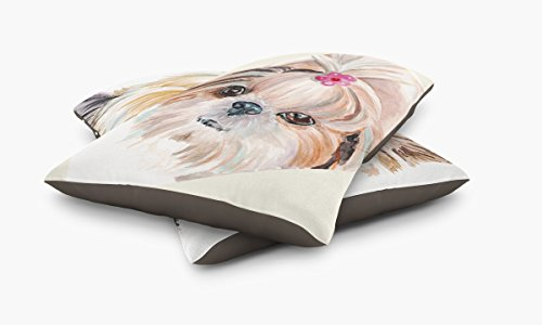 Redstreake Creative Living, Shih Tzu dog Pet Bed, Coral Fleece Top with Cotton Duck Bottom (dark brown), Zipper with INSERT (30 x 40'') by Redstreake Creative Living (Image #2)