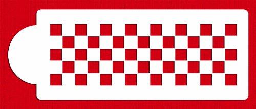 Designer Stencils C721 Checkerboard Cake Stencil Side, Beige/Semi-Transparent