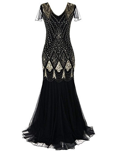 MAYEVER Women 1920s Long Prom Gown Beaded Sequin Mermaid Hem Ball Evening Dress with Sleeve Headband Free (S, Black ()