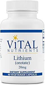Vital Nutrients - Lithium (Orotate) 20 mg - Supports Mental and Behavioral Health - 90 Capsules
