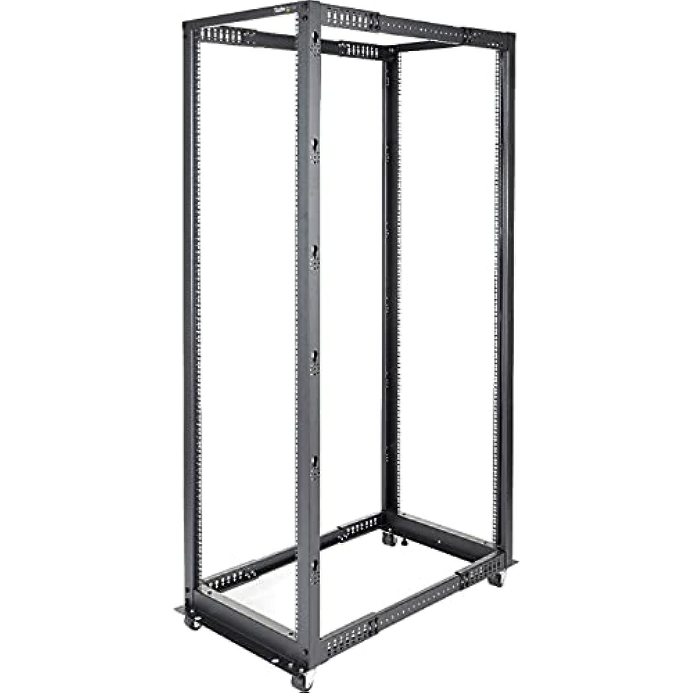 StarTech.com 42U Open Frame Server Rack - 4 Post Adjustable Depth (22 to 40) Network Equipment Rack w/ Casters/Levelers/Cable Management (4POSTRACK42),Black
