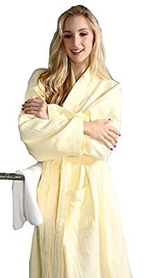 KM Female Spring and Autumn Long Sleeve Waffle Cotton Bathrobe