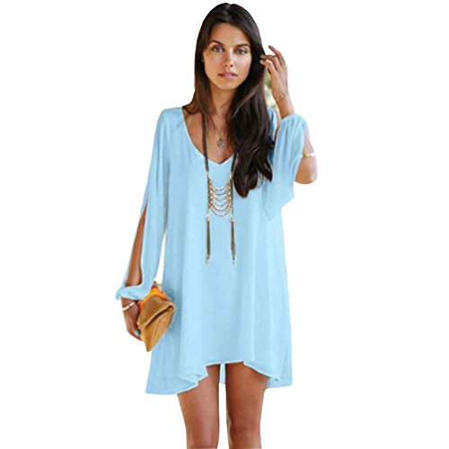 Manga Playa Tamaño NiSeng De Dobladillo Irregular Gasa Mujeres Vestidos Del Verano Azul Camisa Vestir Cielo Larga Color Sólido Gran Cortos Suelto Mini Casual Vestido wU07w