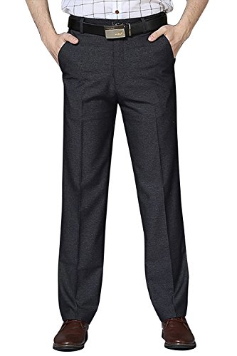 FLY HAWK Men's Non-Iron Straight Fit Dress Pants Slacks Wrinkle-Free Plain Front Suit Separate Pants Trousers, Loose Version