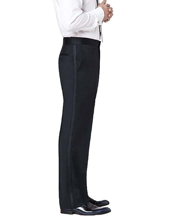 Men's Steampunk Clothing, Costumes, Fashion Flat Front Satin Stripe Tuxedo Pants $34.95 AT vintagedancer.com