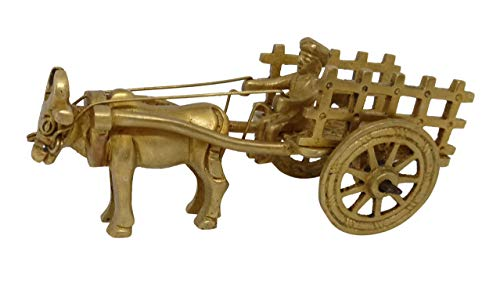 Indian Handicrafts Paradise Adorable Brass Showpieces for Home Decorations Hand Made Home Decor Accents Vintage Bullock Cart with a Rider and Carriage | Centerpieces for Coffee Table