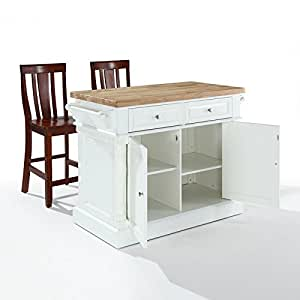 Crosley Butcher Block Top Kitchen Island : Amazon.com - Crosley Furniture Butcher Block Top Kitchen Island in White Finish with 24-Inch ...