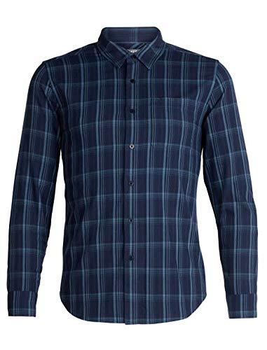 4c9a43cd17c06 Icebreaker Merino Men's Compass Flannel Long Sleeve Athletic T Shirts,  Medium, Dark Night Heather