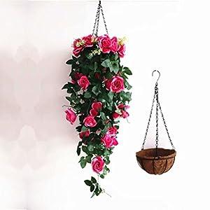 XHSP Artificial Rose Vine Silk Flower Garland Hanging Basket Decorative Plant Home Outdoor Wedding Arch Garden Wall Decor 5