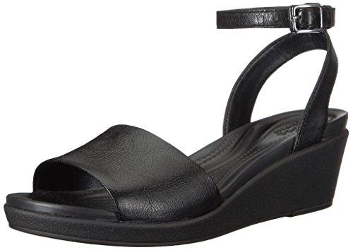 Leighann Lthr Women's Sandal Black Anklestrap Wedge Crocs nUqFZU