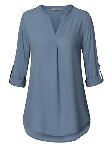 Timeson Women's Casual Chiffon V Neck Cuffed Sleeve Blouse Tops (XX-Large, Blue (Blue Long Sleeve Blouse)
