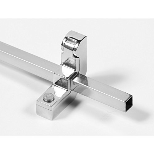 Brooklyn Single Square Rod With Hinged Bracket Pair - Bright Chrome (9mm) Black Country Metal Works