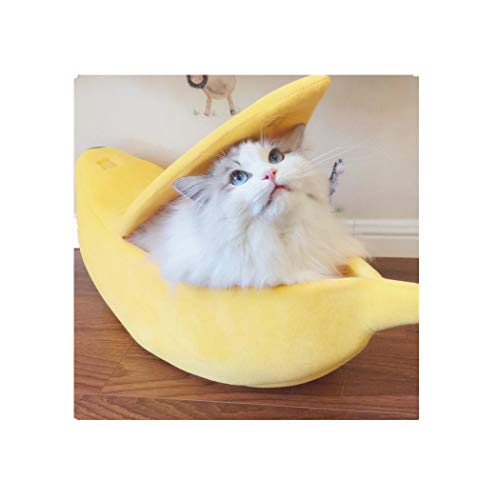 Mitsutomi Small Pet Bed Cute Banana Cat Bed House Fluffy Warm Soft Plush Breathable Bed Cat House Cat Condo (M, Yellow)
