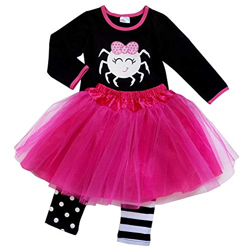 So Sydney Girls Kids Toddler Tulle Tutu Skirt & Top Socks Novelty Costume Outfit (XL (6), Itsy Bitsy Hot Pink Spider)