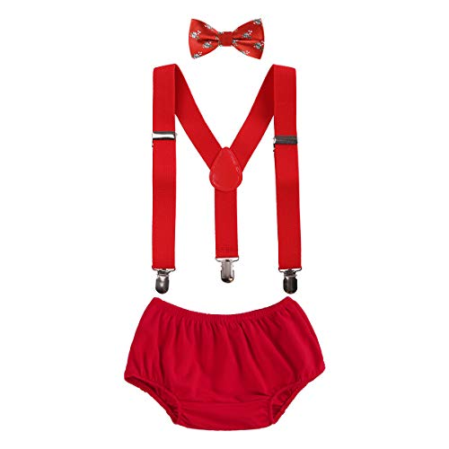 OBEEII Christmas Holiday Party Baby Toddler Boy Cake Smash Outfits Suspender Bottoms Tie Headband Dress Up Fancy Costume Christmas Candy -