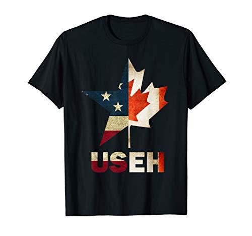 USEH Leaf Canadian American Flag Shirt Canada USA Flag Gift