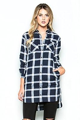 Button Down Plaid Long Sleeves Shirt Dress